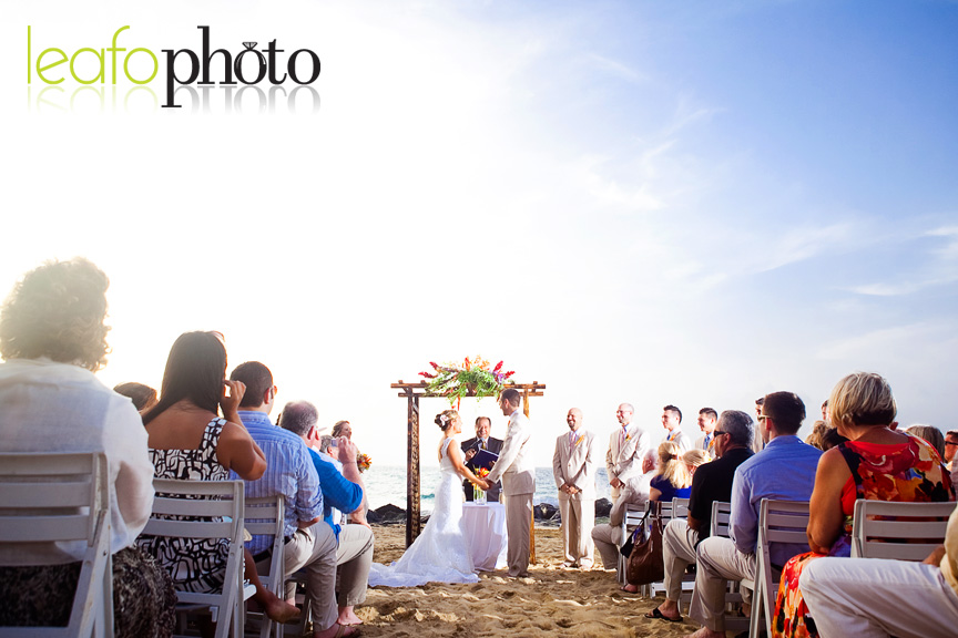 Bride and Groom Beach Wedding standing at altar on sand in San Juan Puerto Rico