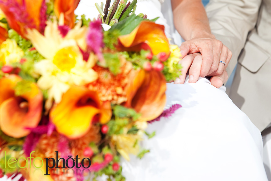 Creative-Wedding-Photographers-in-Delaware, Close-Up of  Wedding Flowers & Couple's Hands