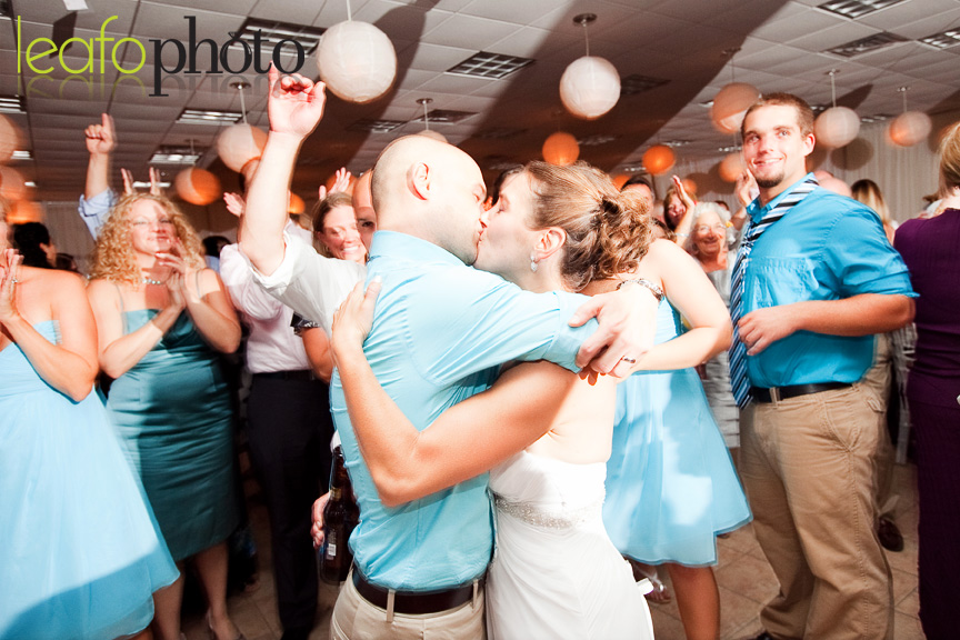 Nassau-Vineyard-Lewes-Delaware, Bride and groom kissing on crowded dance floor