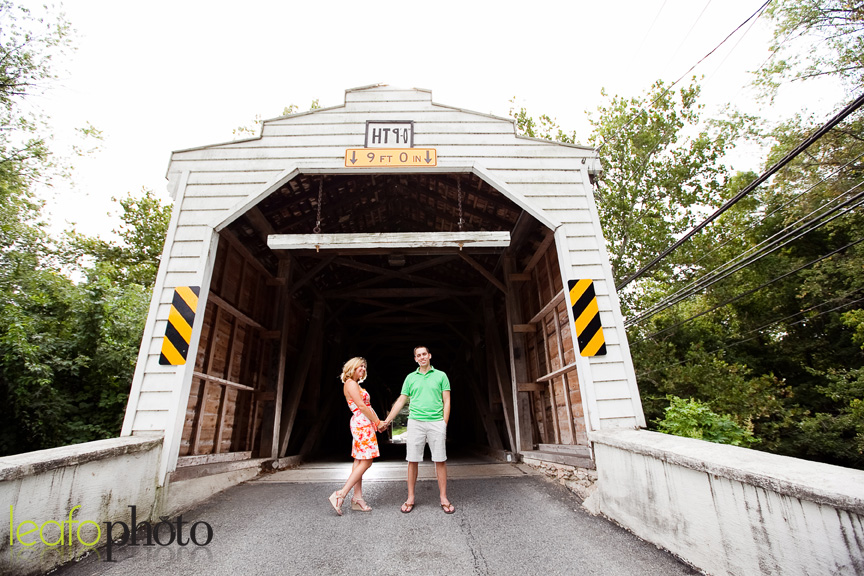 West Chester Pennsylvania Engagement Session, couple posing in front of covered bridge