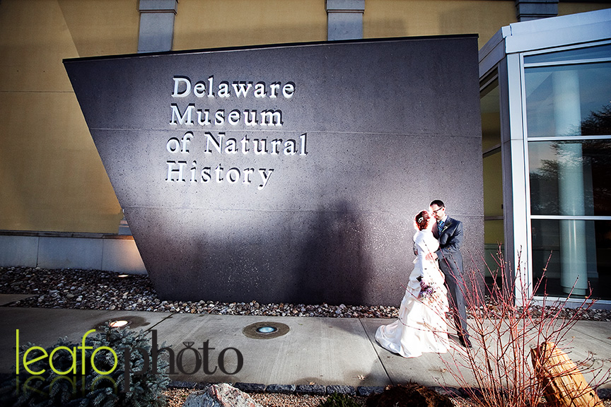Wilmington-Delaware-Wedding-Photographers, Couple posing in front of museum of natural history