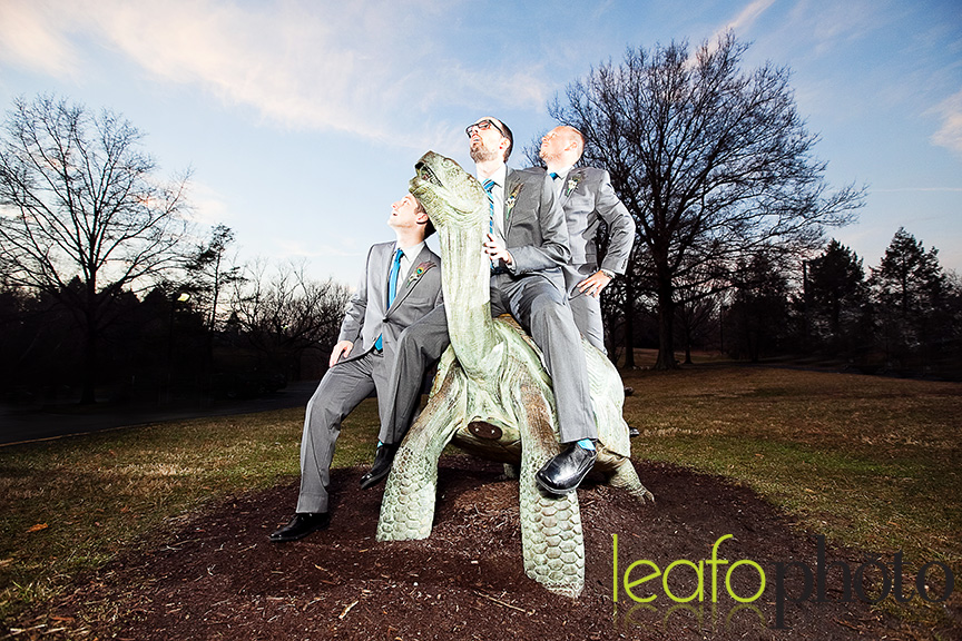 Quirky-Delaware-Wedding-Photographers, groomsmen posing on turtle statue
