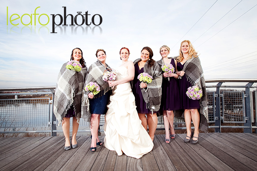 Wilmington-Delaware-Wedding-Photographers, Bridesmaids posing on bridge
