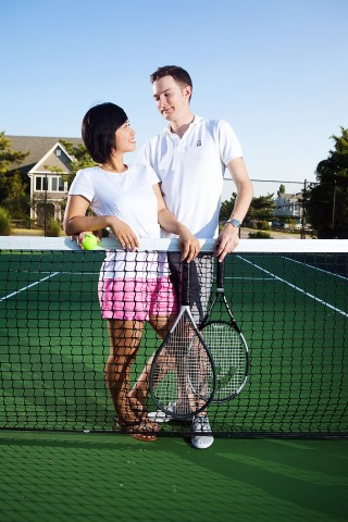 Anh & Mak Tennis Themed Engagement Photography