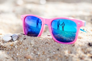 Sunglasses Reflection Engaged Couple on Beach